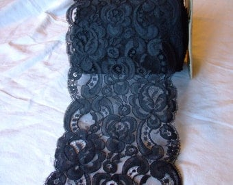Vintage black lace,polyester,supplies,1 yard