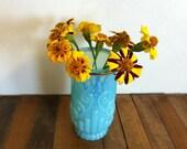 Vintage Blue Avon Glass Flowers Vase in Bristol Blue - springtime in blue opal vaseline glass