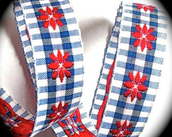 """Ribbon - 3/4""""  Blue, White and Red Flowers Gingham Check"""