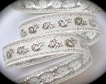 "Vintage Ribbon  Off White/White  and Silver Metallic Flowers - 5/8"" x 5 yds"