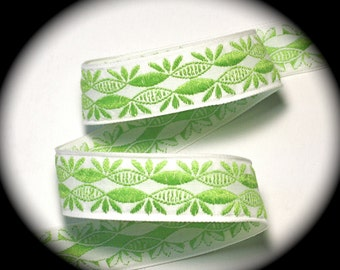 "Vintage Woven Ribbon -  1""   Natural and Lime - Darling"