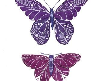 Violet Butterflies Archival Art Print