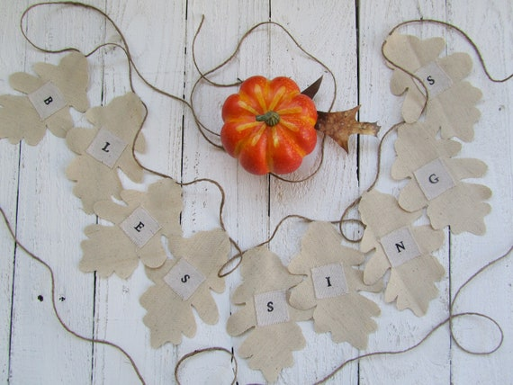Reserved for Melanie - Blessings muslin leaf garland or banner for Fall or Thanksgiving decoration