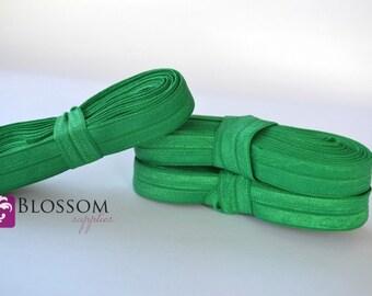 5 Yards Emerald Green 5/8 Inch Fold Over Elastic - Shiny FOE - Baby Headband Elastic - DIY Hair Ties - Cloth Diaper Supplies - Wholesale