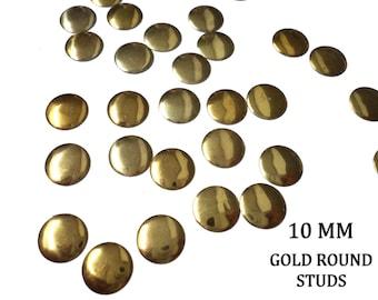 DIY Studs - 60 PCS Gold Round Studs 10 mm  - Iron On, Hot Fix, or Glue On