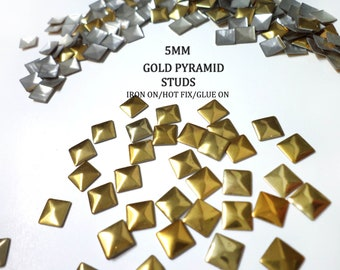 DIY Studs - 60 Gold 5 mm  Pyramid Square Studs - Iron On, Hot Fix, or Glue On