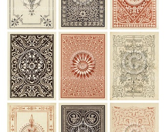 Antique Playing Cards ATC backgrounds Collage Sheet Printable Digital Download File