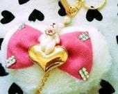 Heart shape Teddy bear key/purse chain