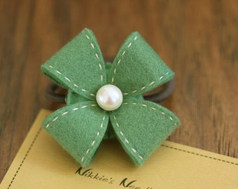 Nikkie's Felt Flower Ponytail Holder-Jade