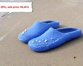 Ready to ship - Felted slippers for women - Sea shells - Blue wool wearing - Winter trend - (EU 38/ UK 5/ US 7,5)
