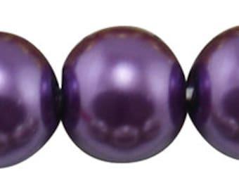 50 ct Faux Pearl Glass Czech 6mm Imitation Pearl Bead - Purple / Indigo