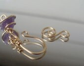 HUGE SALE Hand forged Amethyst Clasp Set- Gold
