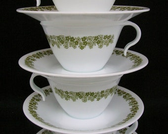 Corelle Crazy Daisy Spring Blossom Cups and Saucers Set of Four Each