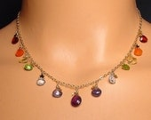 RAINBOW BRIOLETTE - Cascade Necklace in 14K Gold-fill with Garnet Carnelian Citrine Peridot Blue Topaz Iolite Amethyst