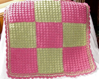 Crochet Baby Blanket - pink and green