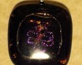 "Black Fused Glass Pendant ""Floral Fantasy"""