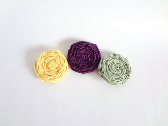 3 Fabric Rosettes Embellishment