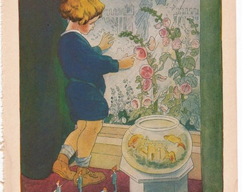vintage children's book illustration by Ruth Mary Hallock,  Fairy Bread, from A Child's Garden of Verses, cottage chic home decor