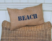 Burlap Beach Pillow - Upcycled Coffee Sack - Eco Friendly Summer Decor