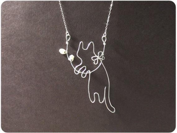 Cat and twig - Sterling Silver Pendant Necklace w/Fresh Water Pearl