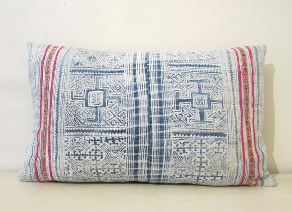 """Indigo batik and embroidered Hmong textile cushion cover 19""""x11"""""""