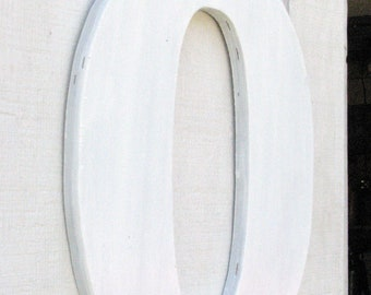 "Large 18"" Letter ""O"" Wooden Rustic Painted White Great Decor You Pick Letter and Color Solid Wood"