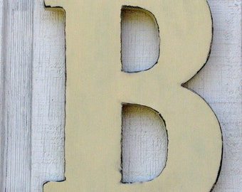 "Wooden letters Rustic Letter B Home Decor Distressed Painted Buttermilk 12"" tall Wood Name Letters, Custom Made"