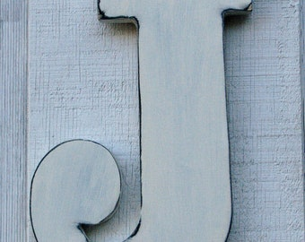 "Baby Nursery Initial Rustic Wooden Letter J Distressed Painted White12"" tall Wood Name Letters, Custom Wedding Gift"