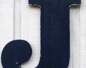 "Rustic Large Wooden letters  J Home Decor Distressed in Cobalt Blue 18"" tall Wood Name Letters, Custom Made"