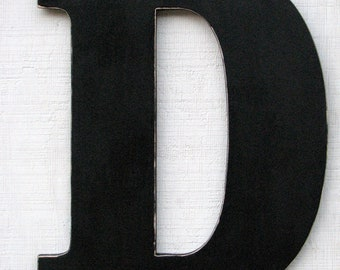 "Extra Large Wooden Letters Guest Book Wooden Letters ""D"" Distressed in Black 24"" tall Wood Name Letters, Custom Wedding Gift"