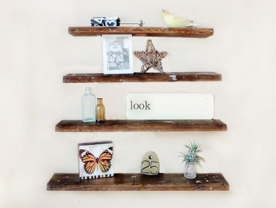 Rustic wall shelf set of 4 reclaimed wood by reclaimedgrace - Reclaimed wood ladder shelf ...