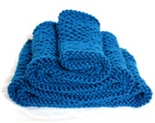 French Blue Honeycomb Cotton Knit Infinity Scarf