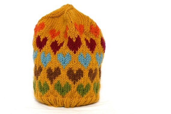 Fair Isle Slouchy Knit Heart Wool Hat for Women