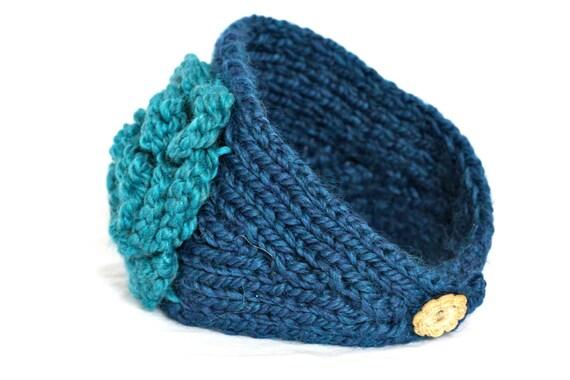 Womens Hand Knit Navy Headband with Flower