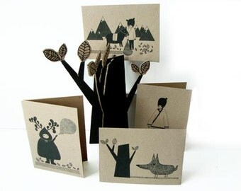 Set Of 4 Recycled Cards - The Wolf, The Hunter, The Old Man & Mr Dongguo