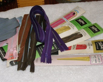 Vintage Zipper Lot Talon JP Coat Clark Different Colors and Lengths