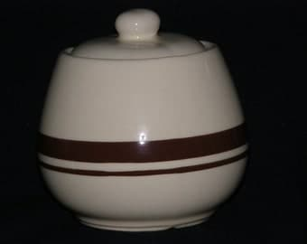Vintage Sugar Bowl with Lid Brown Rings Light Brown Stoneware MGY USA Numbered 7020