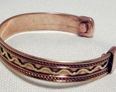 Cuff Copper with Zigzaged Brass Rope Inlay for His or Hers