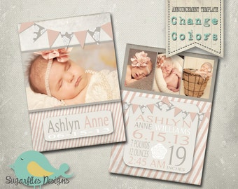Baby Girl Announcement PHOTOSHOP TEMPLATE - Baby Girl Banner
