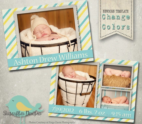 Baby Announcement Templates - Baby Boy Lemonade Stand