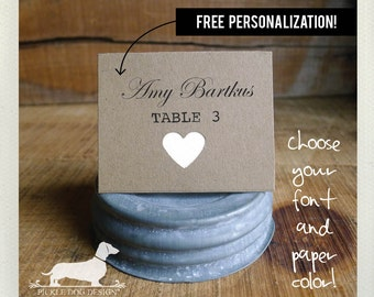 Natural Heart. Personalized Place Cards (Set of 12) -- (Vintage-Style, Bridal Shower, Wedding Escort Cards, Baby Shower, Custom Place Cards)