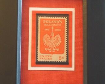 Celebrating Poland's Millennium - Vintage Framed Stamp - No. 1313