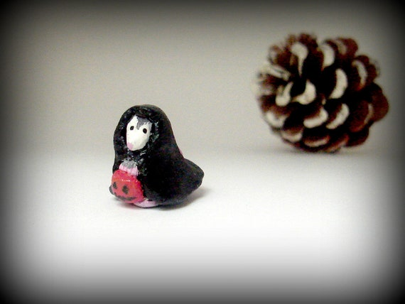 Halloween Miniature - Polymer Clay Possum Totem - Trick or Treating Possum Miniature - Halloween Decor
