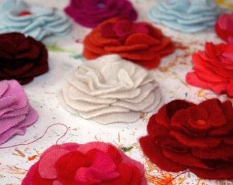 Flower pin made in your choice of color. Felted wool flower