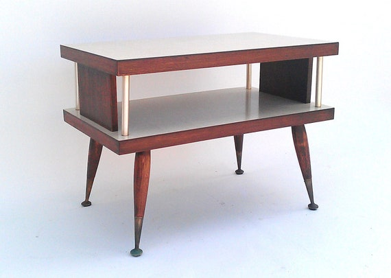 Mid Century End Table - Two Tiered, Wood with Laminate Top, 1960s, Modern RETRO