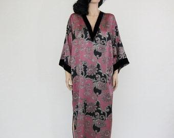 vintage boho / hippie rose luxe kimono dress / caftan