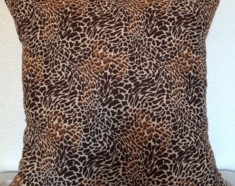 2 Pillow Covers 18x18 inch-Free US Shipping - Cheetah Cream and Brown