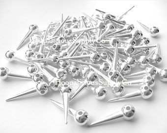 25 Small SHINY SILVER Spike Beads WITH Ball on Top- Acrylic- Fast Shipping and Delivery Confirmation/Tracking Included in Shipping Costs