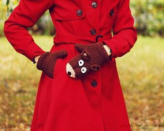 BEAR MITTENS for KIDS Gloves Warm Wool Crochet Autumn Fall Winter Girls Boys Children Cozy Brown Warm Forest Animals Woodland