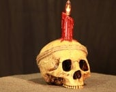 Skull Lamp - original Halloween art handmade and stained flicker bulb included scary